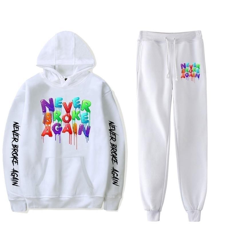 Hot Youngboy nunca quebrou novamente moda manga comprida camisola com capuz 2 pcs mulheres / homens tracksuit hoodies calças hip hop esportes terno 201120