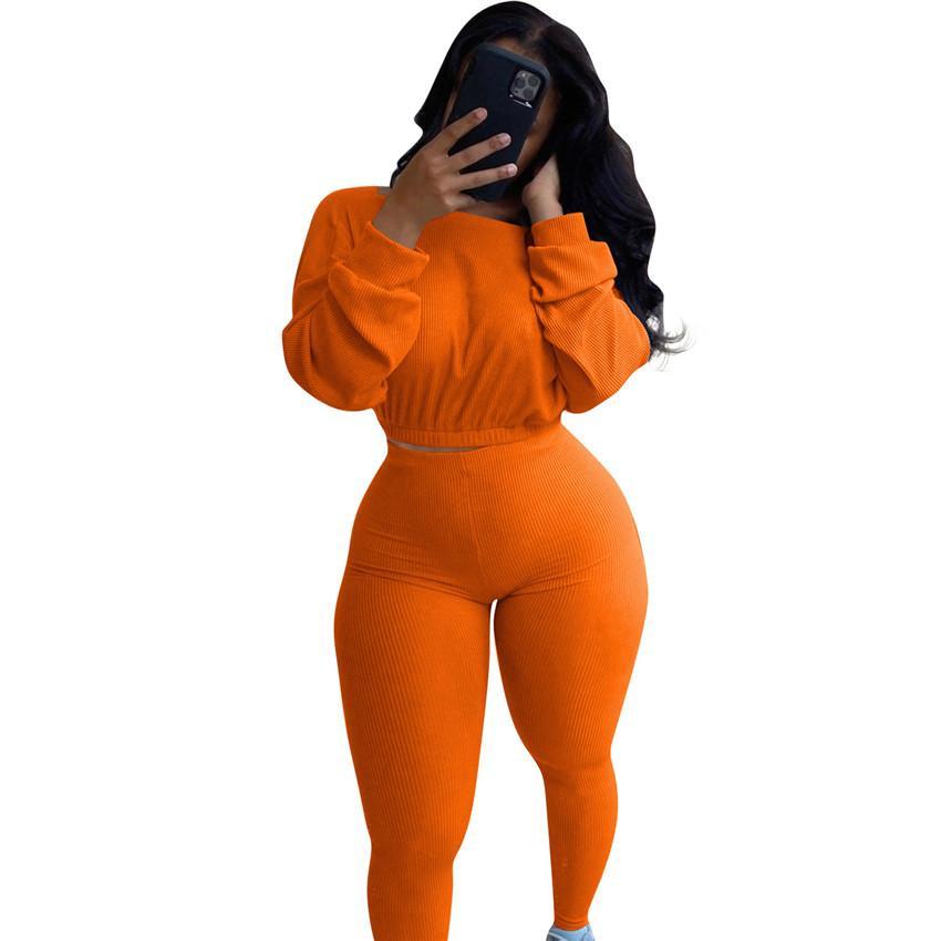 12 donne di colori a due pezzi abiti Crop Tops Pullover con cappuccio Camicette e pantaloni skinny Leggings Body Fashion costine coprono insieme F92912