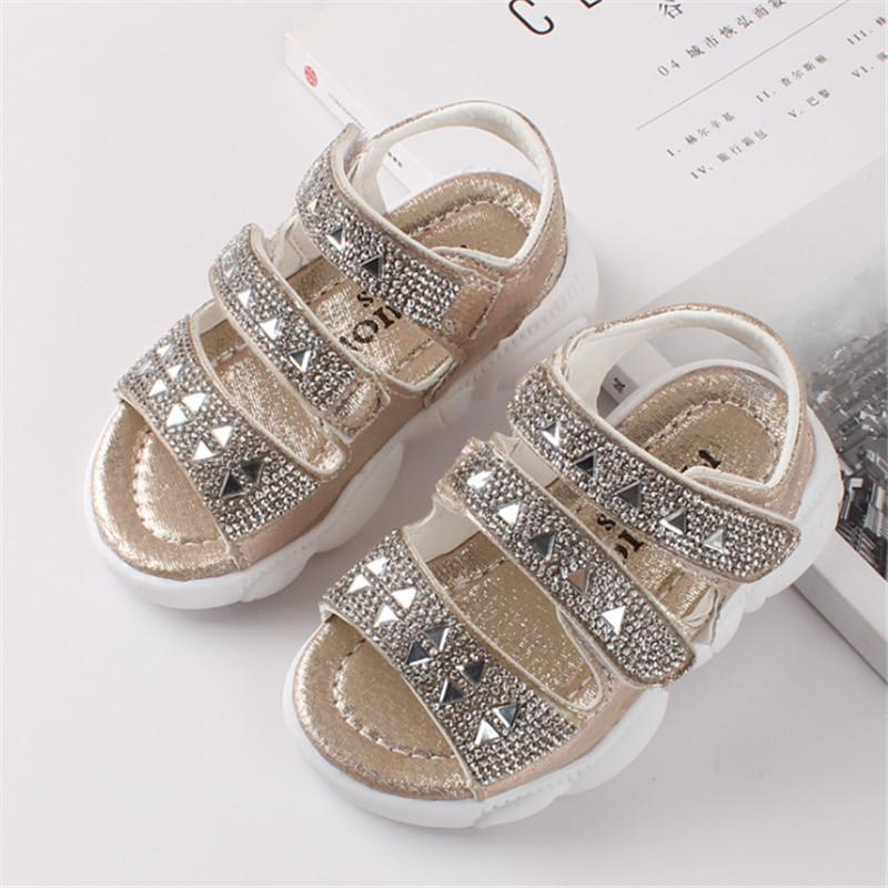 Girls Shoes Summer Kids Sandals For Girls Bling Rhinestone Soft Children Princess Shoes Girls Beach Sandals Size 21-30 1007