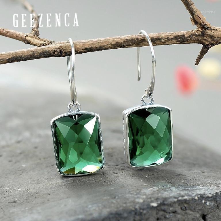 925 Sterling Silber Edelstein Tropfen Ohrringe mit grünem Kristall Square Hollow Handmade Kpop Trendy Ohrringe Fine Schmuck Frauen1