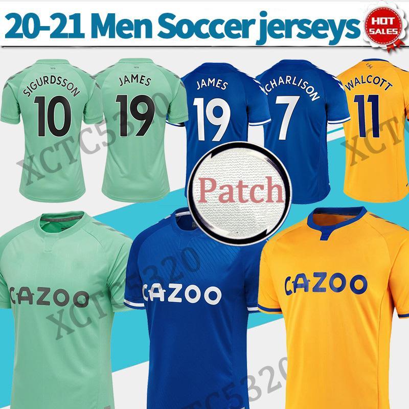 Toffees James Richarlison Davies Soccer Jerseys الثالث الأخضر 2021 رجل Soccer Shirt Home أزرق بعيدا أصفر مخصص لكرة القدم زي