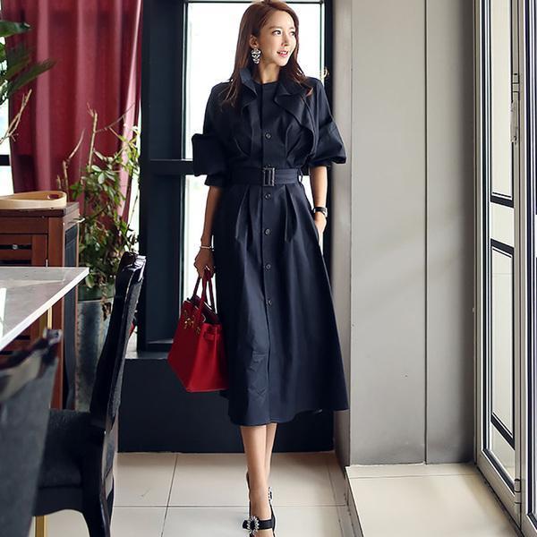 패션 활주로 여성 트렌치 코트 한국어 가을 겨울 프릴 싱글 브레스트 긴 겉옷 빈티지 슬림 벨트 스커트 윈드 브레이커
