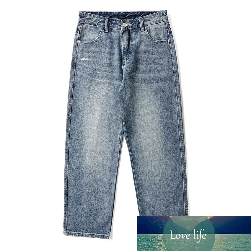 Novo jeans retrô na moda casual All-Match Light Largna Calças Plus Size Denim Homens Loose Coreano 9-Point Jeans