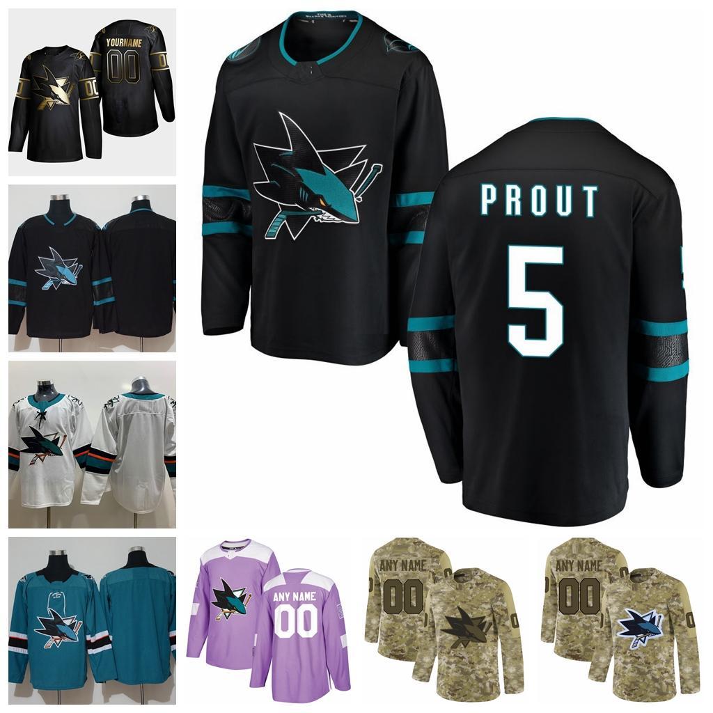 2021 Customize #5 Dalton Prout San Jose Sharks Jerseys Golden Edition Camo Veterans Day Fights Cancer Custom Stitched Hockey Jerseys