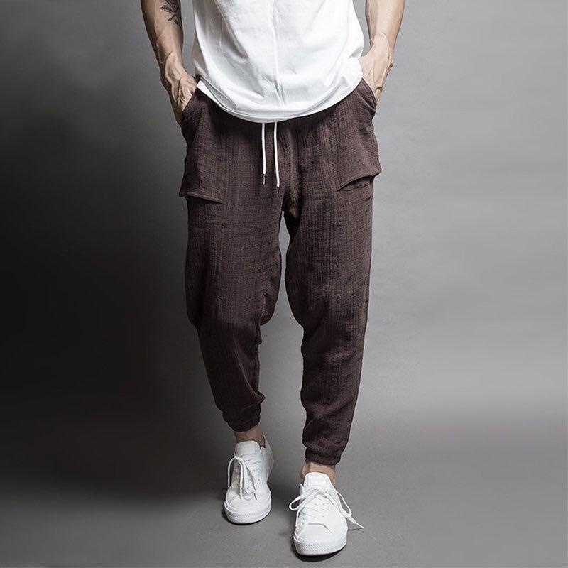 Pantalones para hombres El período de primavera y otoño Tipo de haz de doble haz de punto de punto casual Pantalones de pie Pantalones de pie Masculinos yardas grandes Cu