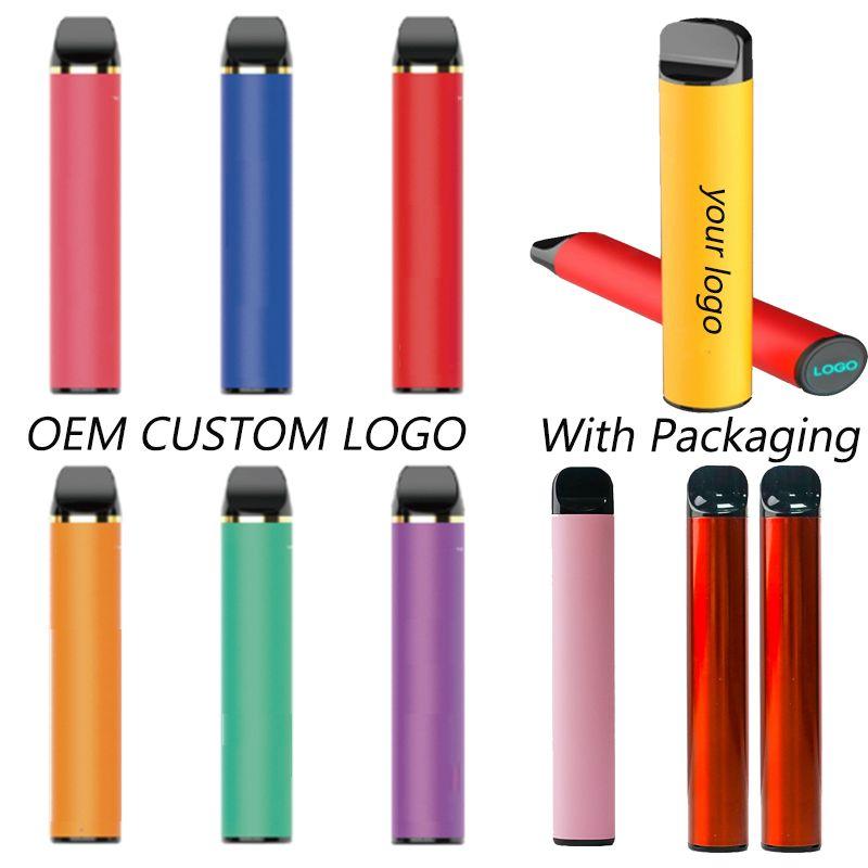 OEM Ваш собственный бренд Одноразовый Vape Pen Индивидуальные одноразовые электронные сигареты 5% предварительно заполненные стручки Пустой Vape Pen Custom Packaging Logo 2000Puff