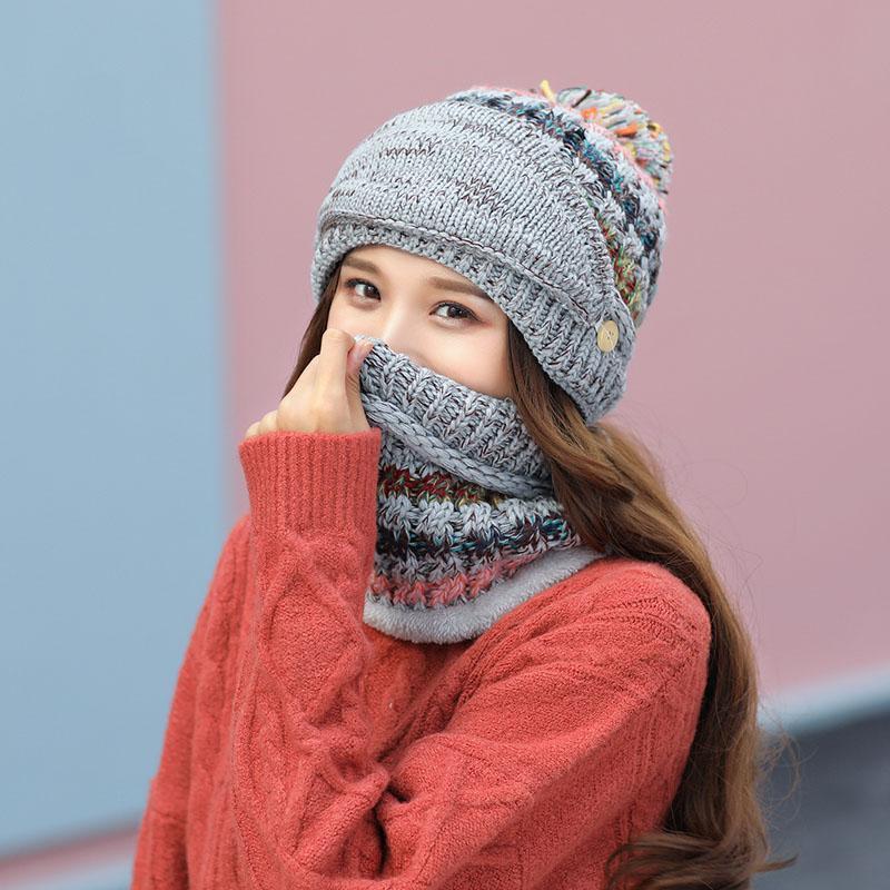 Шапочки / черепные колпачки зима вязаные толстые теплые шапка шапка женщины мода все спички уличные ветрозащитные черепочки с шарфом bonnets мяч 6 цветов
