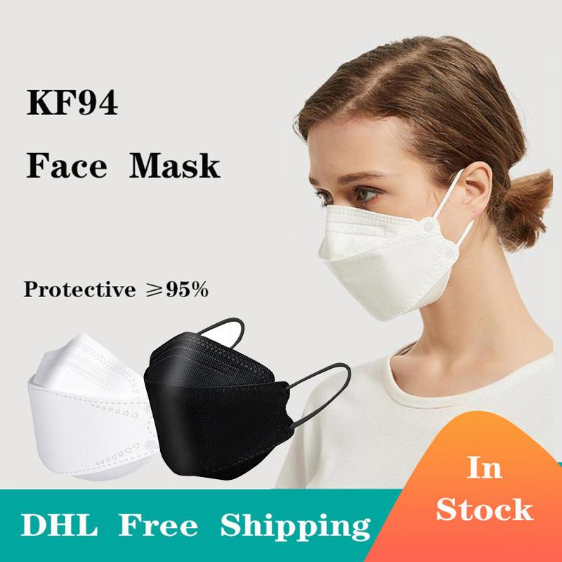 En stock Certificat CE Certificat Masques de visage de protection 10pcs / lot 4 couches KF94 Masque DHL Fast Free Free Ship