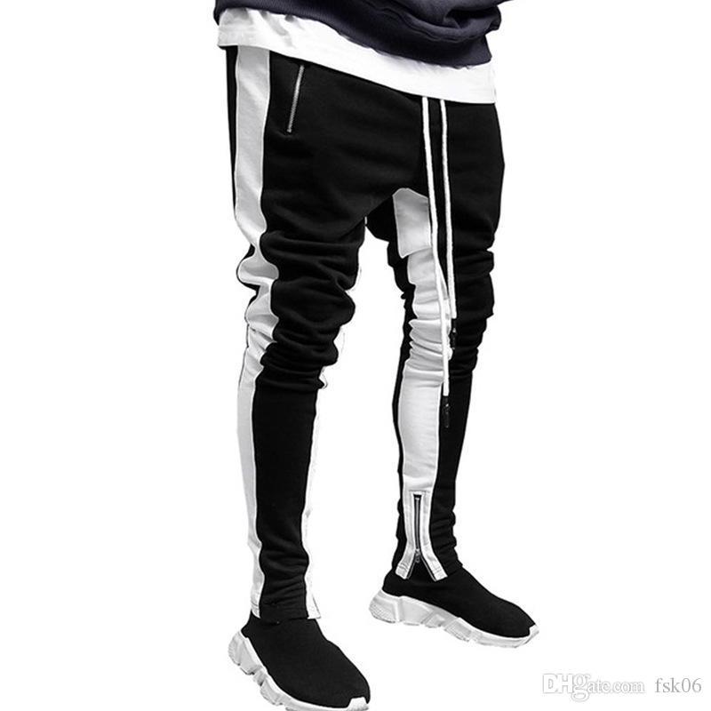 Pantaloni sportivi alla moda da uomo europea Pantaloni sportivi Colore Corrispondenza dei piedi Slim-Fit Piedi Zipper Sport Pantaloni da jogging per gli uomini