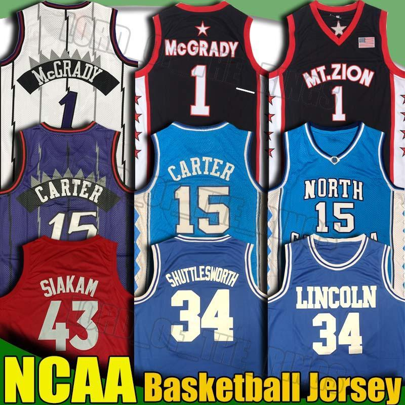 NCAA Lincoln Jesus Shuttsworth Pascal 43 Siakam Jerseys Vince Tracy Carter McGrady Kyle Fred Lowry Lowry Lowryet College Basketball Jersey