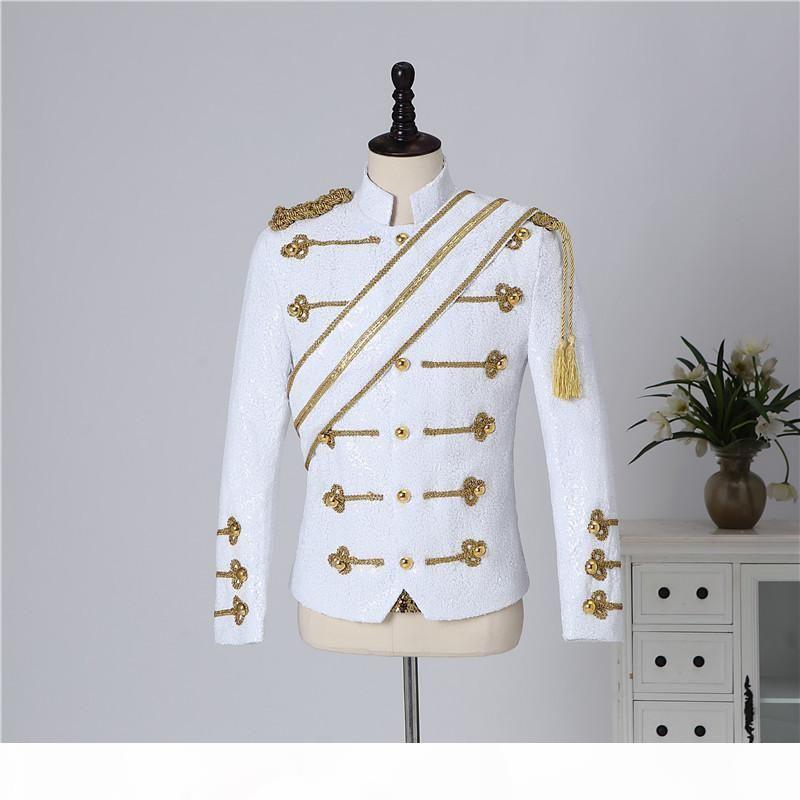 Inglaterra estilo vestido de quadra vintage preto branco lantejoulas carrinho jaqueta jaqueta de casaco de casaco de nightclub barra de banda masculina