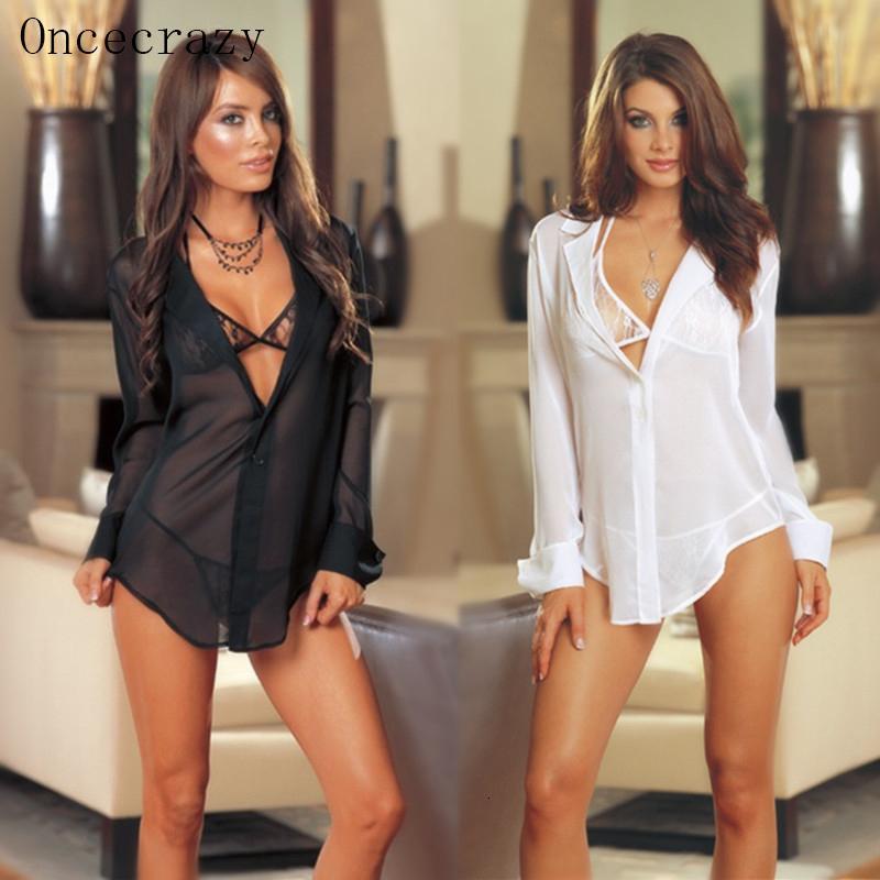 Oncecrazy Mulheres Set Sexy Temptation Perspectiva Pajamas Três peças de lingerie erótica G-três pontos