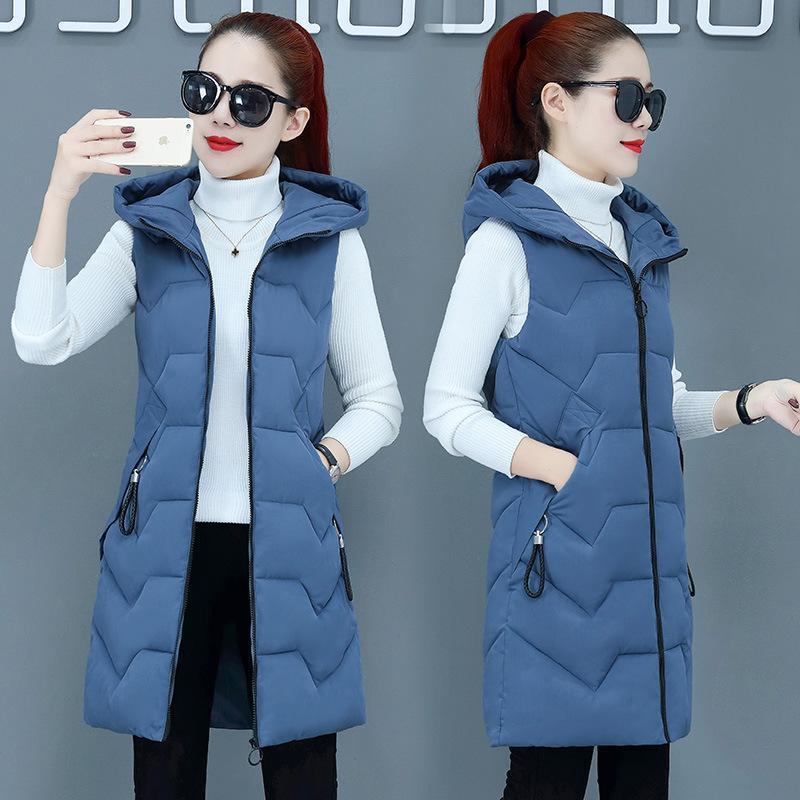 캐주얼 chalecos 파라 mujer 면화 조끼 여성 길레 Femme 겨울 민소매 재킷 모든 일치 조끼의 긴 한국어 버전