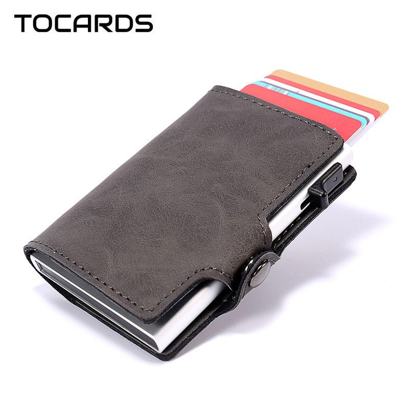 RFID-Blocking Männer Smart-Wallet-Aluminiummetallgeschäft Identifikation-Kreditkarte-Halter-Karte schlanke Case Minikarteninhaber dünne Mappen für Männer