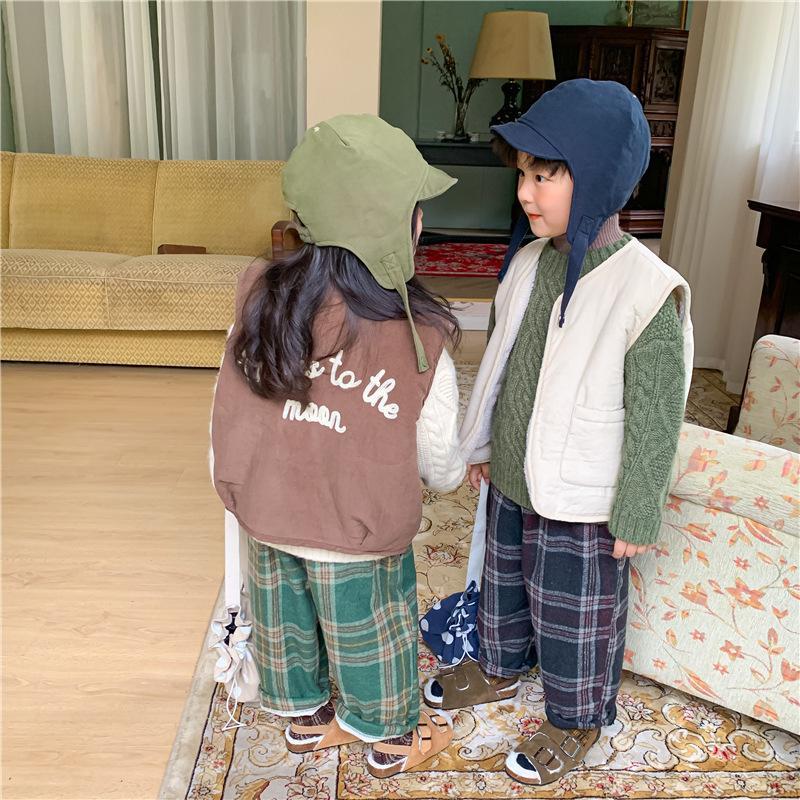 Зимние дети мода густые шерстяные жилеты 2020 мальчики и девочки теплые буквы напечатанные без рукавов жилет LJ201126