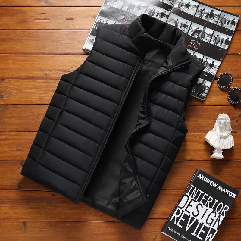 Erkekler' Kolsuz ceketler Kış Moda Erkek Pamuk-Yastıklı Yelek Coats Erkekler Standı Yaka Sıcak Yelek Giyim 5XL
