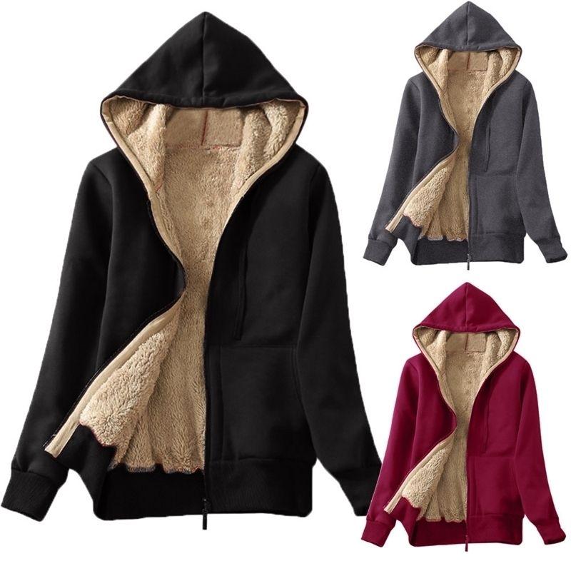 Женская зимняя утолщение толстовки свисало вскользь теплые пальто пушистый меховой флис подкладки молнии вверх куртка с капюшоном повседневная вертикальная одежда # 38 y200915