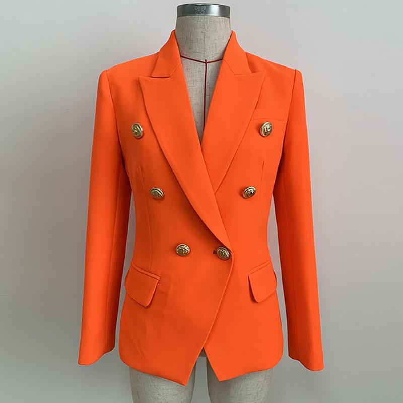 Hochwertige neueste Designer-Blazer-Frauen-Löwen-Buttons Double Breasted Blazer Jacke Neon Orange 201110