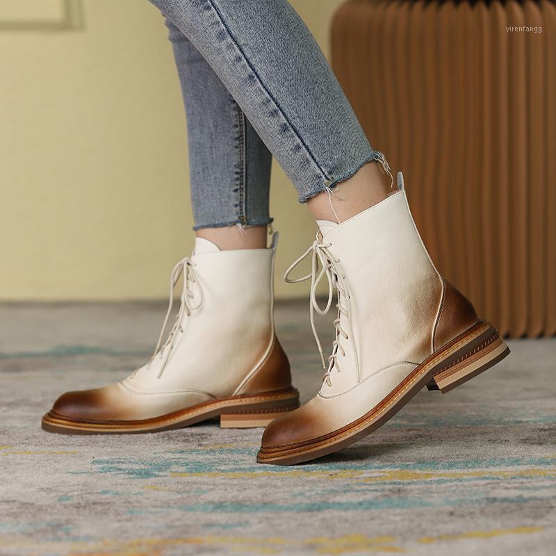 Eeshtsherohero Boots Женский 2020 Новый Низкий каблук Натуральная Кожа Женщины Ботинки зашнуровать Круглый Носок Черные Зимние Женские Обувь Размер 3-11
