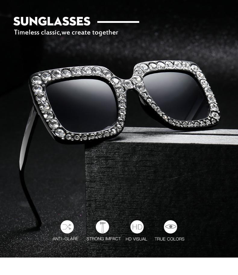 Lunettes de soleil surdimensionnées femmes surdimensionnées Sunglasses Sunglasses Femmes 2019 Nouvelle mode Verres de stores roses Big strinestone carré pour UV400 QWKRV
