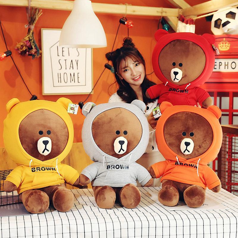 Simulazione maglione marrone orso peluche dei bambini del giocattolo di alta qualità bambola carina comodo cuscino e software hold