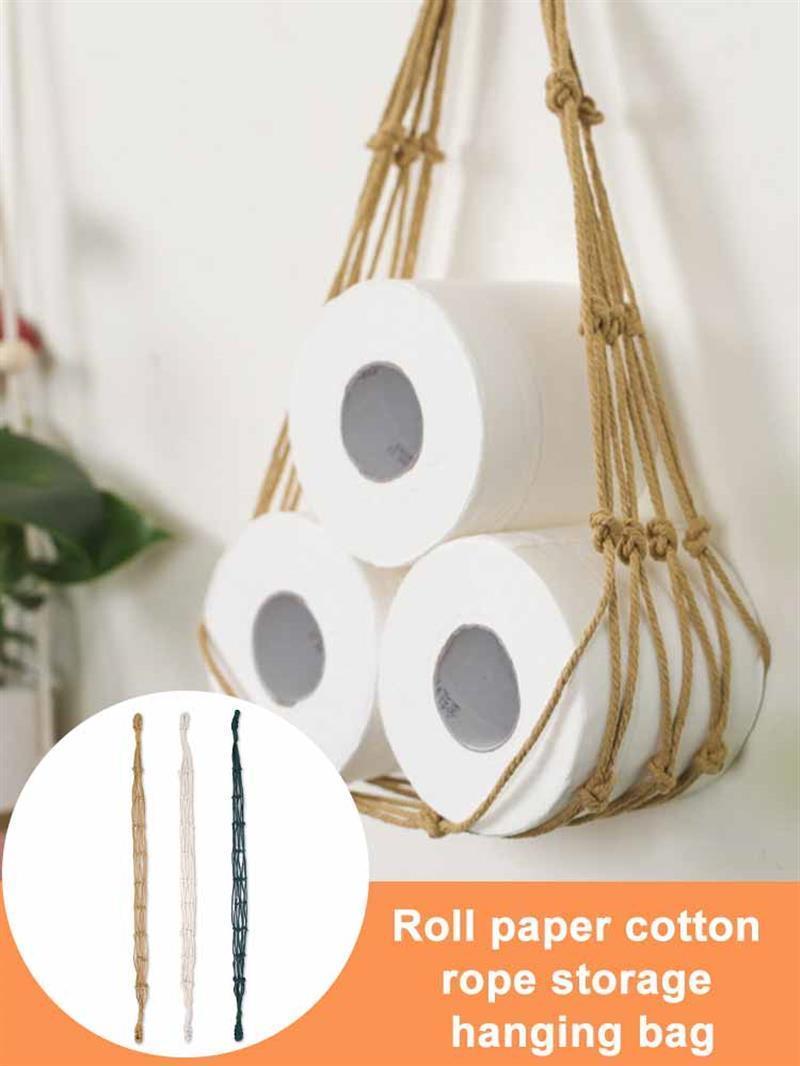 Tenedor de cuerda de algodón colgante para papel higiénico Revista Libros Holder Home Hotel Almacenamiento Colgando Cesta de Canasta Decoración de Baño