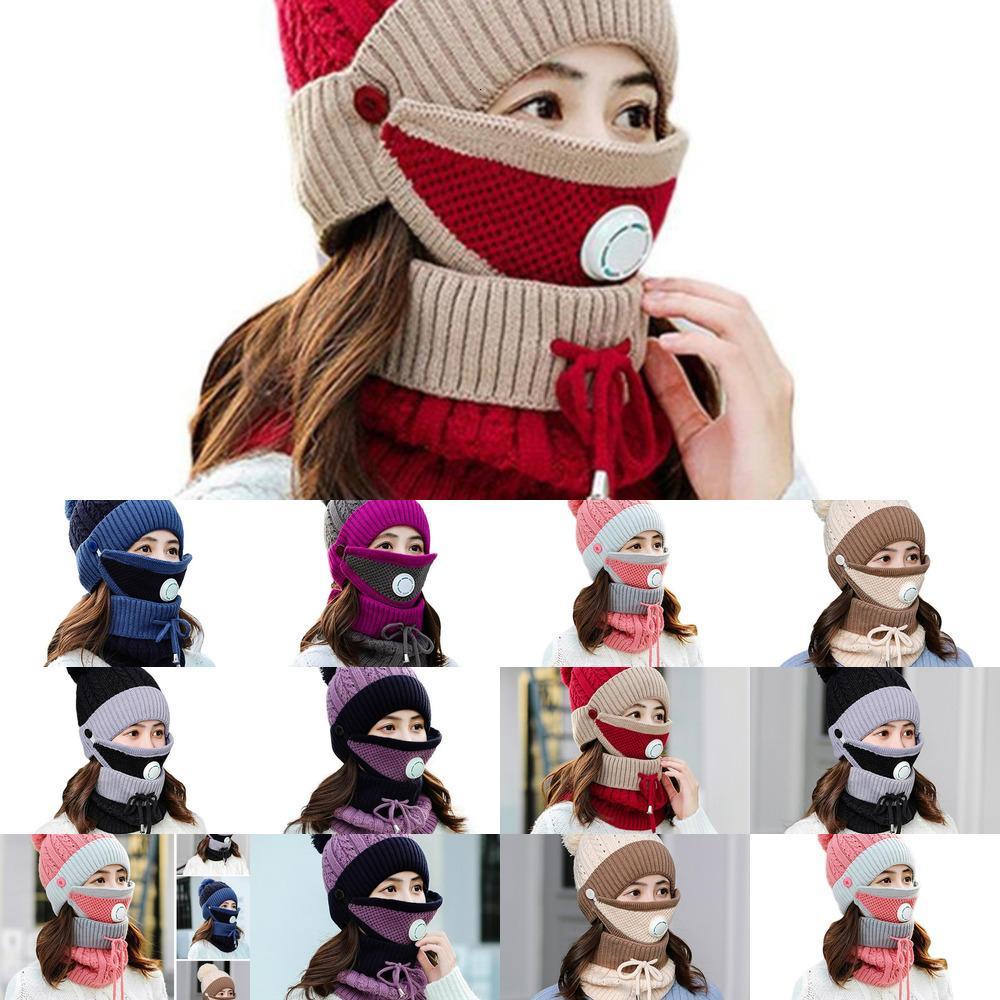 3 adet / takım Beanies Kış Kadınlar Için Sıcak Şapka Pamuk Kalın Yün Kapaklar Maske Örme Kitleri Bere Açık Aksesuarları Eşarp Bonne VZ