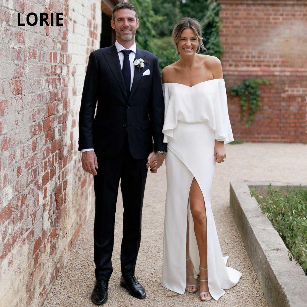 LORIE suave blanca vestidos de satén de la sirena 2020 fuera del hombro de manga larga elegante del vestido de novia de la playa con la raja más del tamaño Q1113