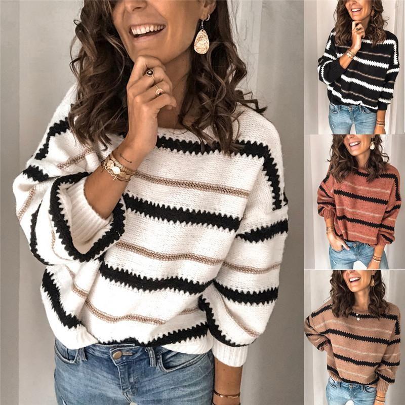 Hirigin Nueva moda para mujer Jersey Jumper Warp Tops Ladies Manga Larga Suéter Femenino Rayas Rayas O-Cuello Casual Top