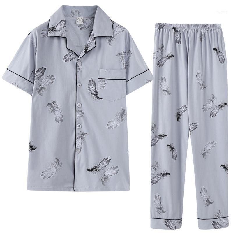 Ropa de dormir para hombre Smart Casual Gurn Down Down Colllar Homesu HomeClothes Moda Hombres Pijamas Set Pijama Pijama Pluma Impresión1