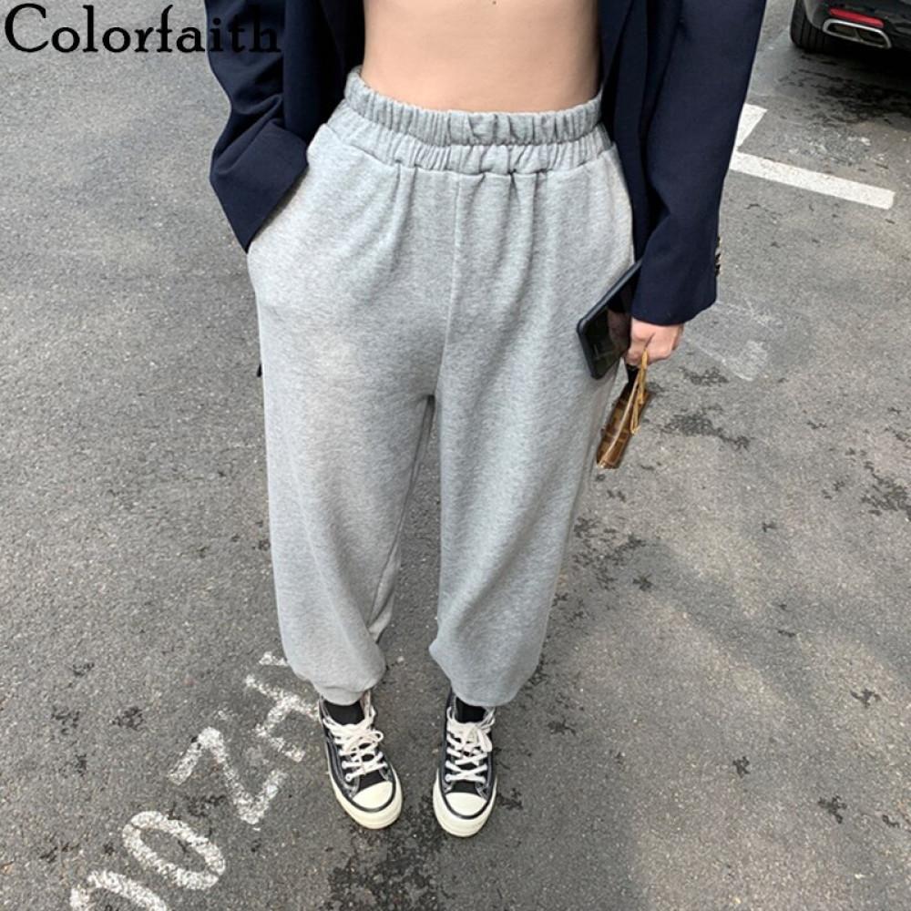 Colorfaith Summer Women Pants High Elastic Waist Casual Pockets Sweat Sports joggers Harem Thin Loose Wild Trousers P4057 201109