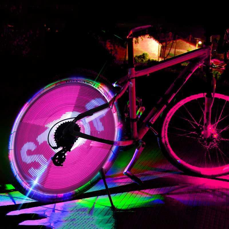 Vélos Light 64 LED Roue de bicyclette Spoke Lumière Route étanche vélo intelligent lampe modèle d'affichage double face Outils de vélo