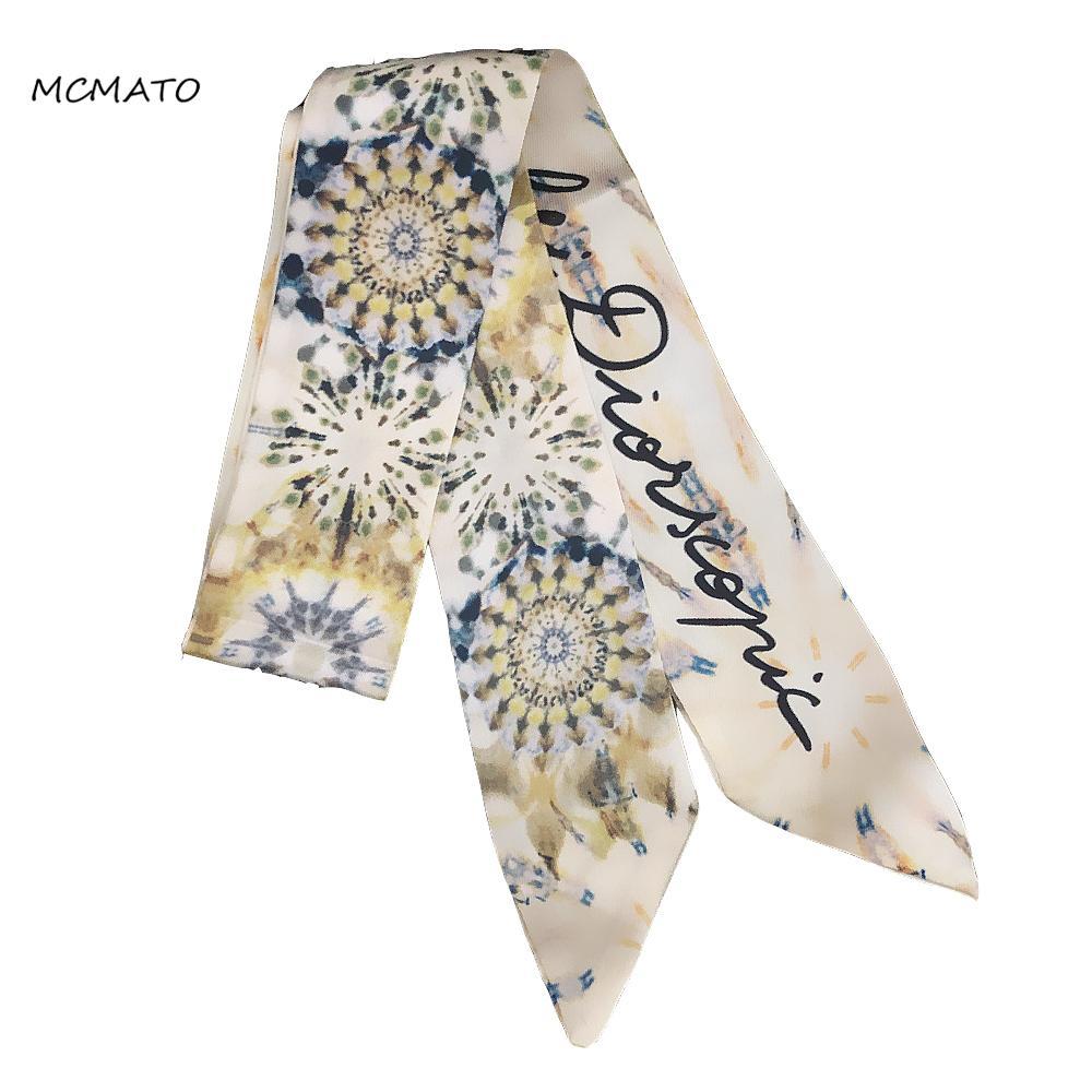 Painting Print Silk Headband Big Luxury Woman Twilly Silk Scarf Design 100cm*6cm Long Small Head Scarf Bag Scarf Ribbons Kerchief Ladies Tie
