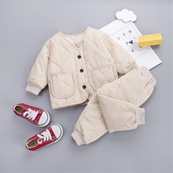 2010 Bébés filles / garçons chaud épais chandail Set vêtements tout-petits enfants Set Vêtements Ensembles Enfants Automne Hiver PARKAS Tenues Set X0923
