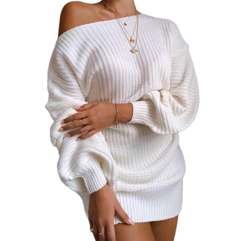 Abiti casual sexy elegante spalla fredda a maglia vestito a maglia donne manica lunga sciolto largo tinta unita colore festa festa mini