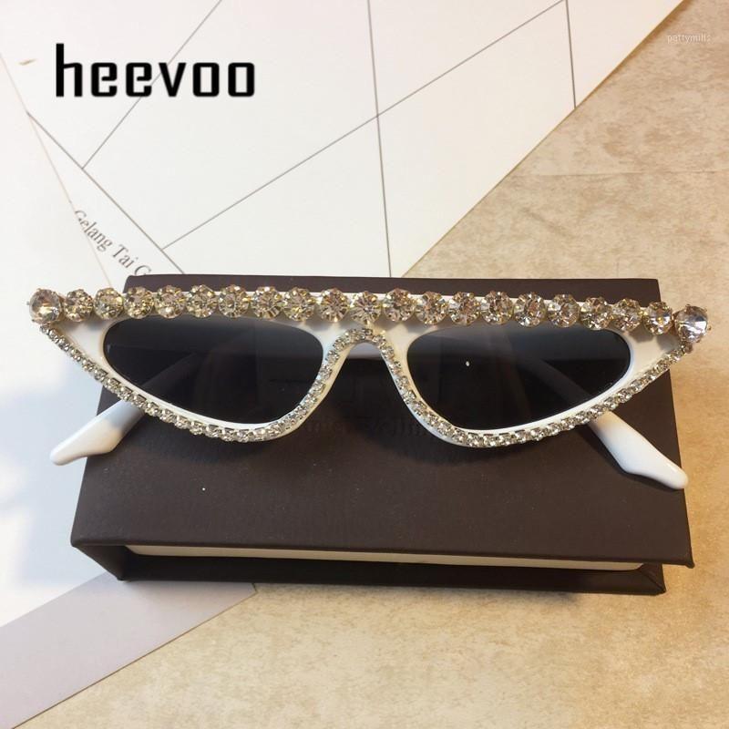 Óculos de sol Senhoras Senhoras Cat Eye Mulheres Triângulo Feminino Diamante Sol Óculos UV400 Rosa Branco Tendência Colorida Eyewear Cristal Shades1