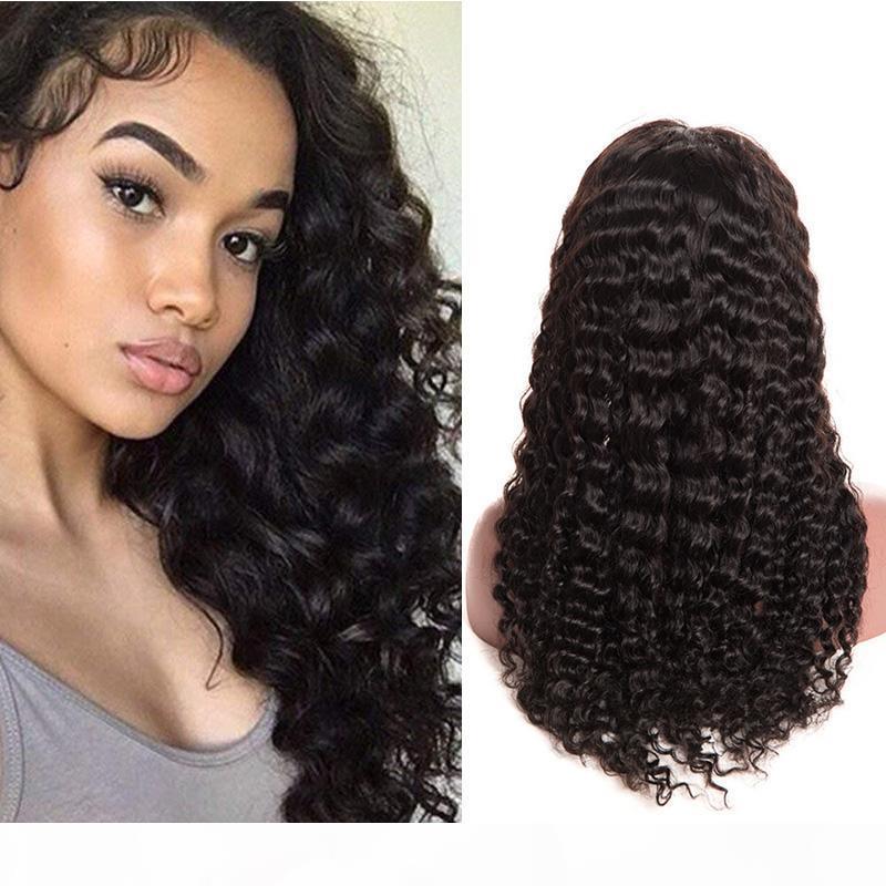 Color natural Pelucas frontales de encaje rizado profundo con cabello bebé Ola profunda Sin glóvía Virgen brasileño Pelucas delanteras del encaje del pelo para las mujeres negras