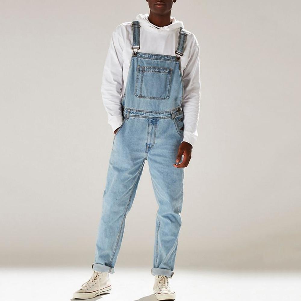 dos homens Calças Denim Bib Lavados Corpo Inteiro Jeans Macacões Hip Hop retas Jean Macacões por Homens Streetwear New Masculino Jumpsuit D25