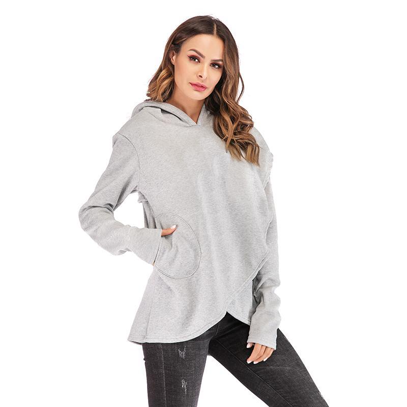 Kadın Hoodies Tişörtü 2020 Sonbahar Kış Artı Boyutu Uzun Kollu Cep Kazak Hoodie Kadın Rahat Sıcak Kapüşonlu Kazak Q0116