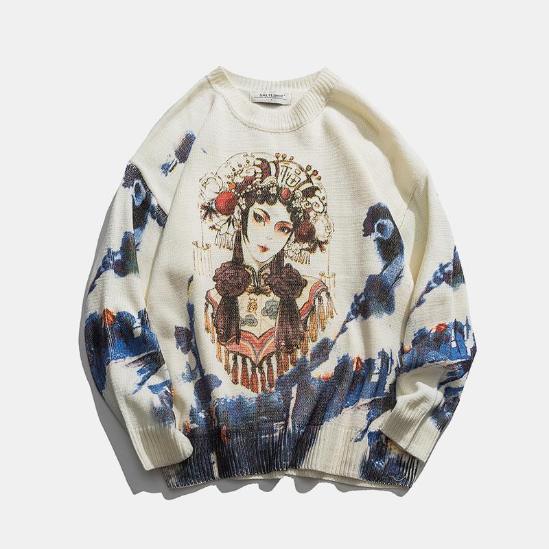Зимний мужской свитер круглые шеи пуловер корейский мода одежда свободная повседневная хараджуку китайский стиль печати свитер MEN1