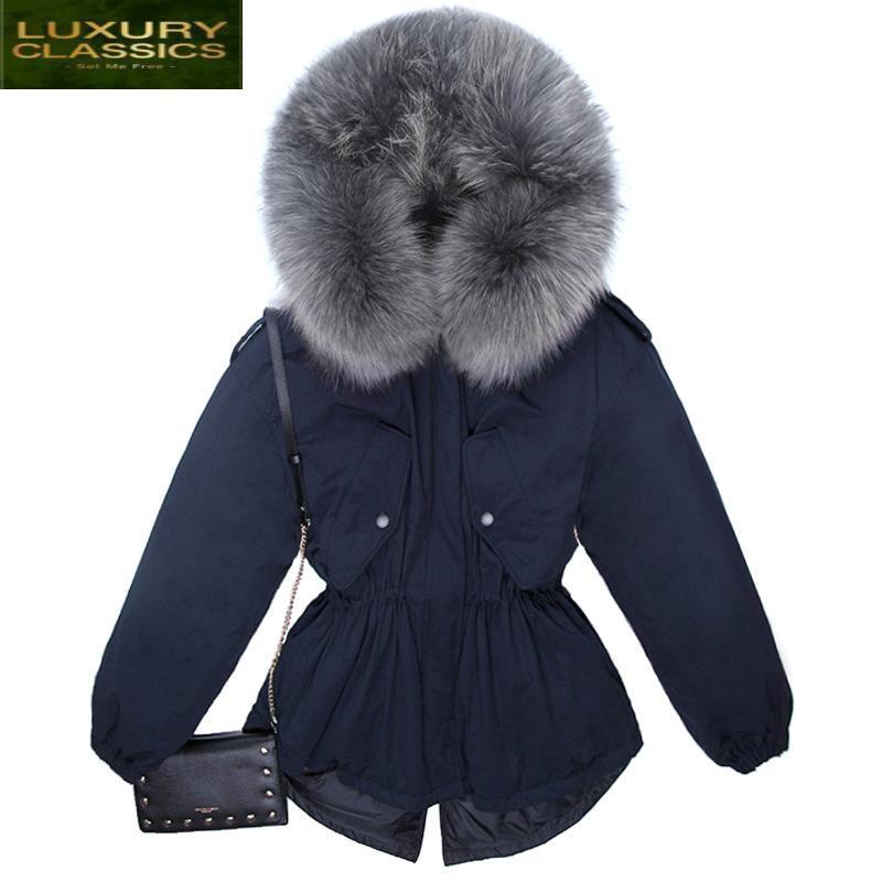 Женщины Parkas Word Parkas енота с капюшоном настоящая куртка женская зимняя утка пальто женский густой теплая короткая аживер пальто 0602