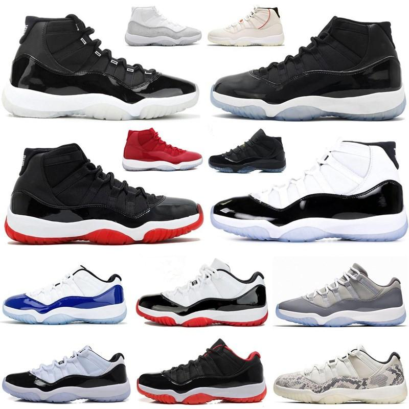 25th Anniversary 11s Bred Concord Basketball Shoes 11 Low SE Snakeskin Platinum Tint Men Women 72 - 10 Sports Sneakers With Box