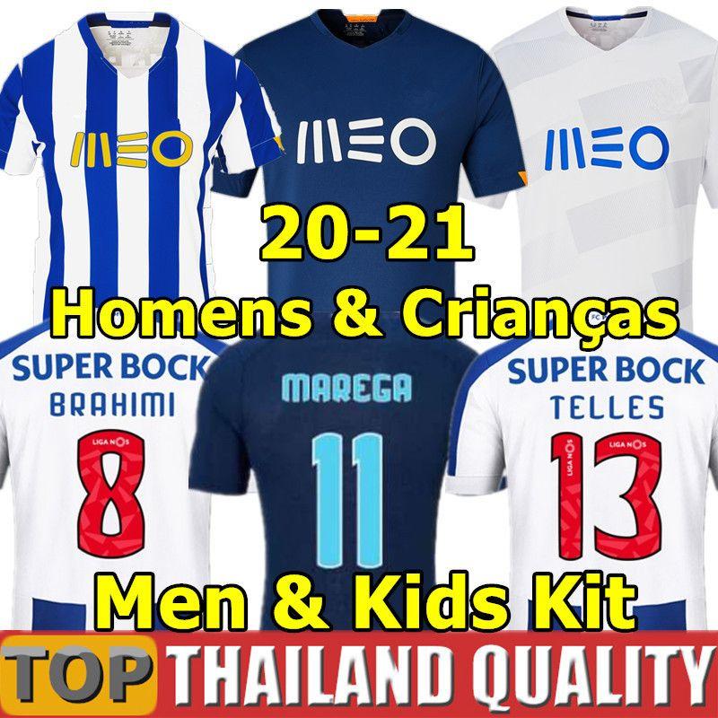 2020 ALEX TELLES FC Porto camisetas de futebol BRAHIMI SHOYA DANILO conjunto de camisa de futebol Infantil OTAVIO FELIPE AUGUSTO Homens Kit infantil uniforme