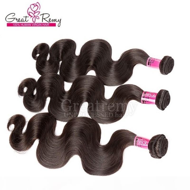 Pelo virginal indio 3 unids Lot Remy Human Hair Wave Wave Wave Envío libre Color natural
