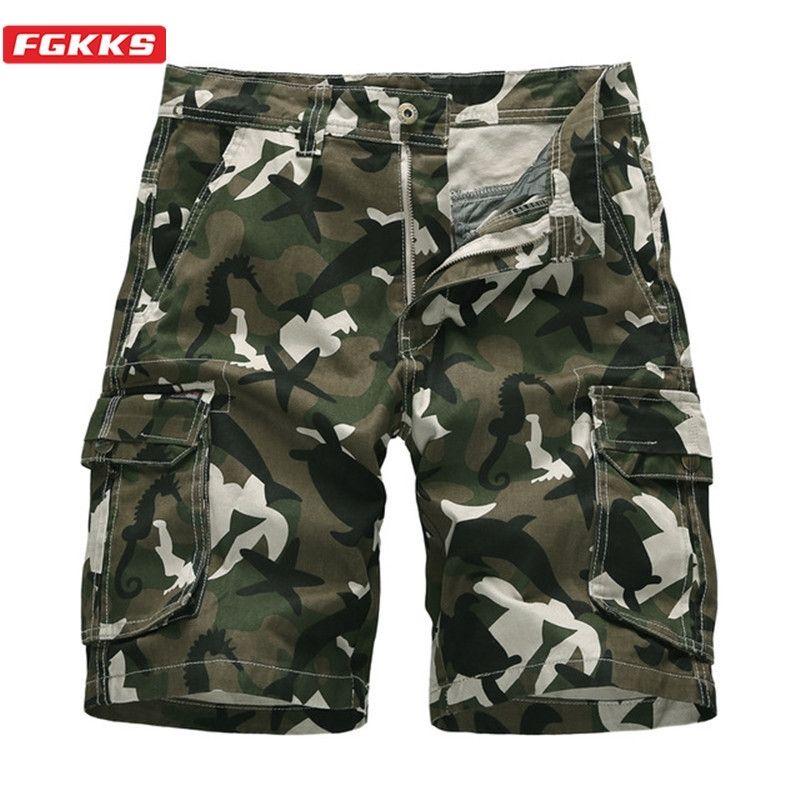 FGKKS Trend Marke Männer Tarnung Casual Shorts Männer Wäsche Wild Shorts Sommer Neue Baumwolle Multi-Pocket Cargo Shorts Männlich T200422