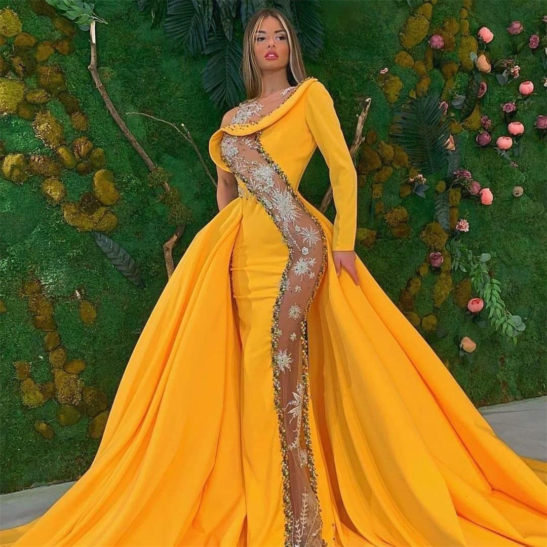 2020 Abiti da sera di sirena gialla Abiti da sera TRASPARENTE TRASPARENTE TRASPARENTE Abiti da ballo formale Overskirt Dress tappeto rosso
