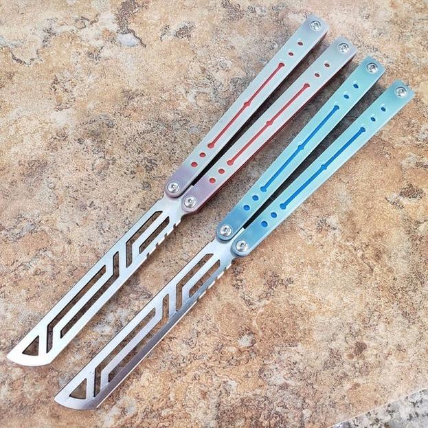 Nautilus mariposa entrenamiento entrenador cuchillo canal negro aluminio + g10 mango 440 buje buje sistema táctico plegable edc cuchillo