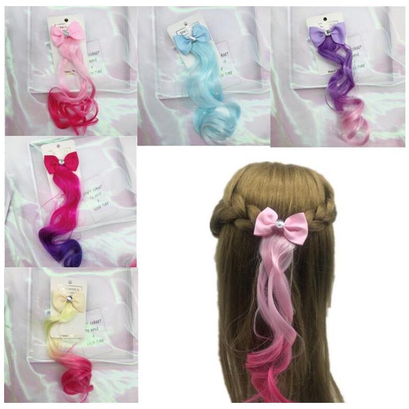 12 stücke Neue Ankunft Mädchen Perücken Barrettes Schöne Farbverlauf Bunte Bogen Haarnadeln Prinzessin Haar Ornament Stirnband Haarspangen Zubehör Geschenk Ins