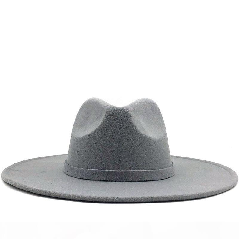 2020 Fedora Hat Brim large pour les femmes de couleur solide en feutre de laine Chapeau pour les hommes Automne Hiver Panama Gamble gris Jazz Cap