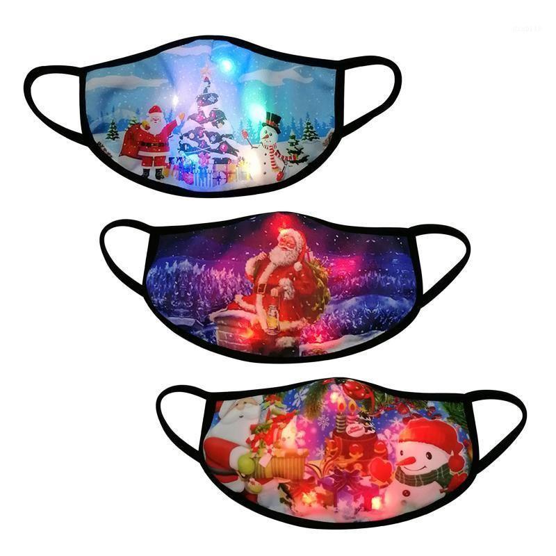 Masque Bravable LED Light Up Рождественские Светящиеся Мужчины Женщины 3 шт. Многоразовые Faceegase Cubre Bocas Mascara Лицо Halloween Cosplay1